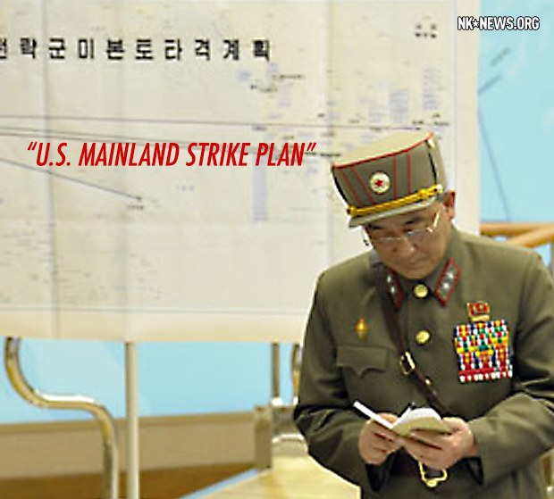 "NKNews.org annotated photo titled ""U.S. Mainland Strike Plan."" Original photo by KCNA. Translations and analysis by James Pearson NKNews.org"