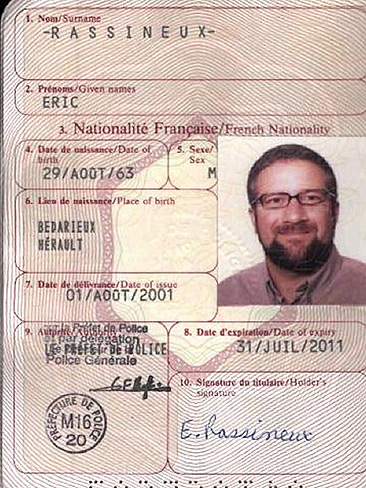Israeli American Zev Barkan in disguise on his forged French passport using the name Eric Rassineux