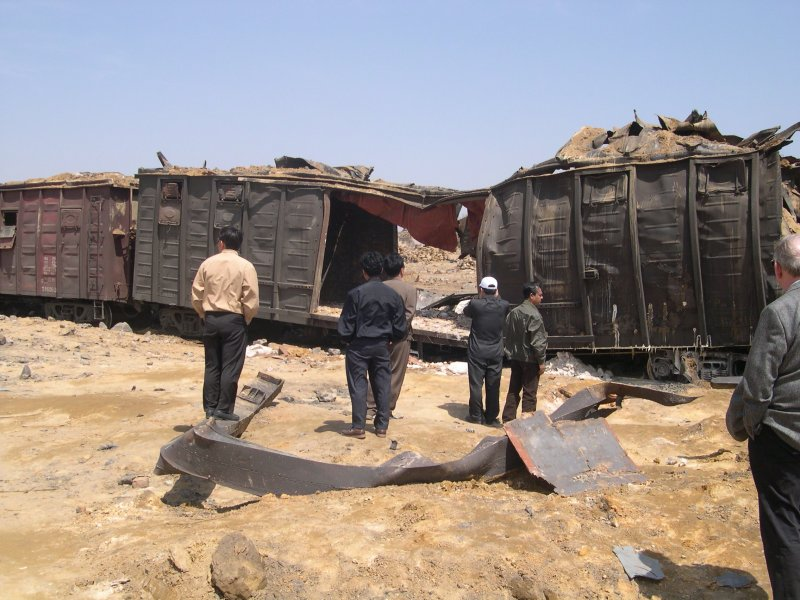 Destroyed train where 12 Syrian missile scientists were killed in Ryongchon, North Korea April 22, 2004