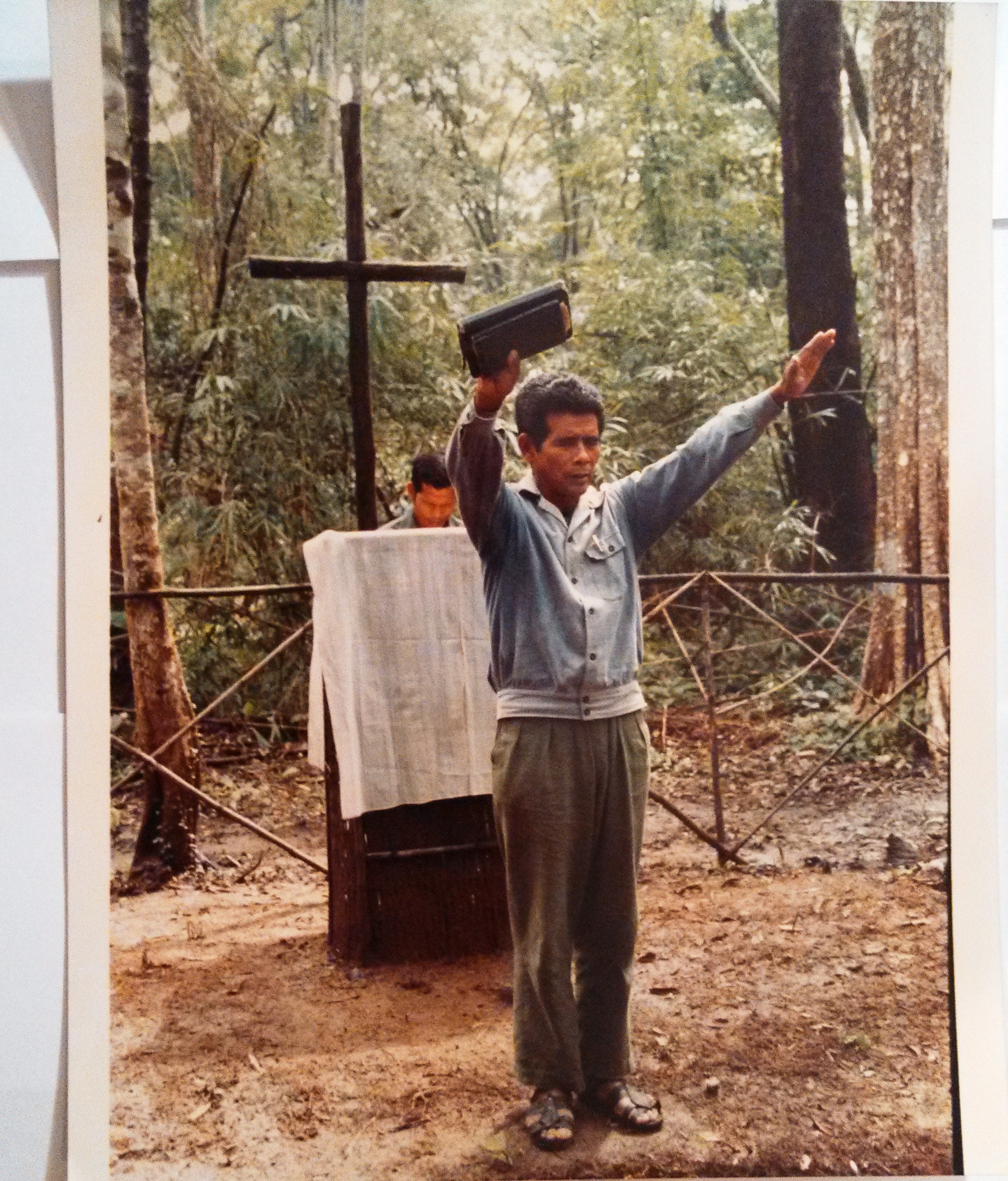 Fulro Catholic Priest at Servies in Jungle Church Where They Fled From Religious Persecution in Vietnam