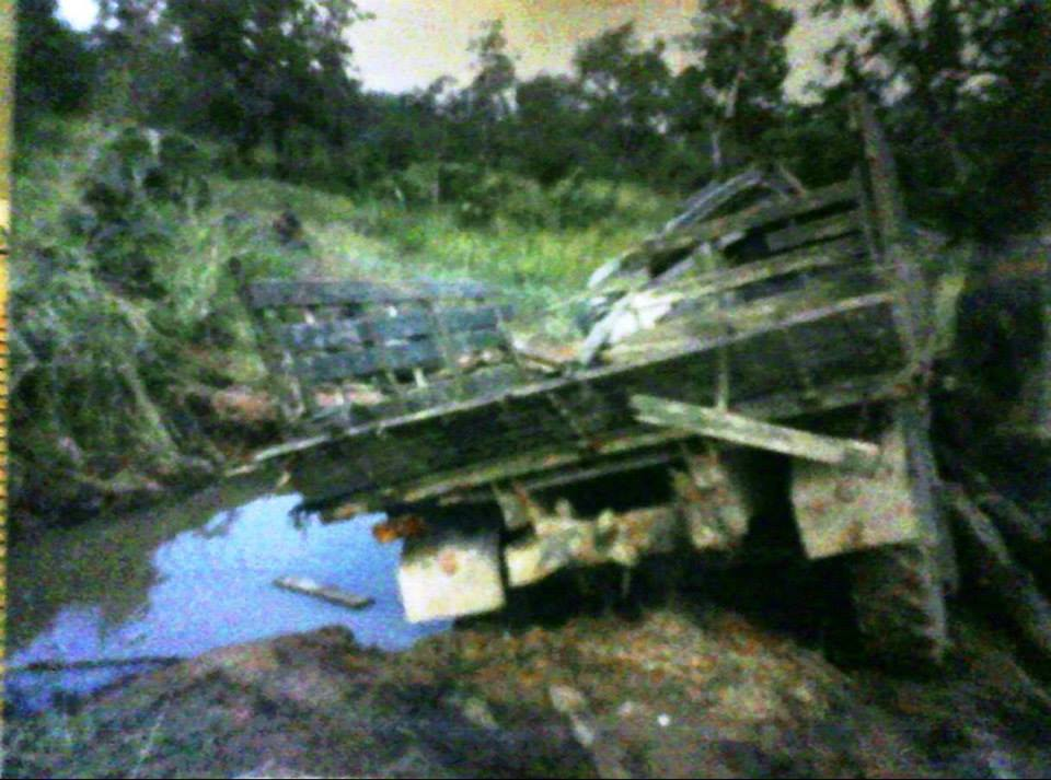 Another Photo of Russian Zil 2 1/2 ton military truck after it drove over Chinese anti-tank mines in northwest Cambodia killing many and wounding the rest of us who survived at night in the jungles near the Thai border