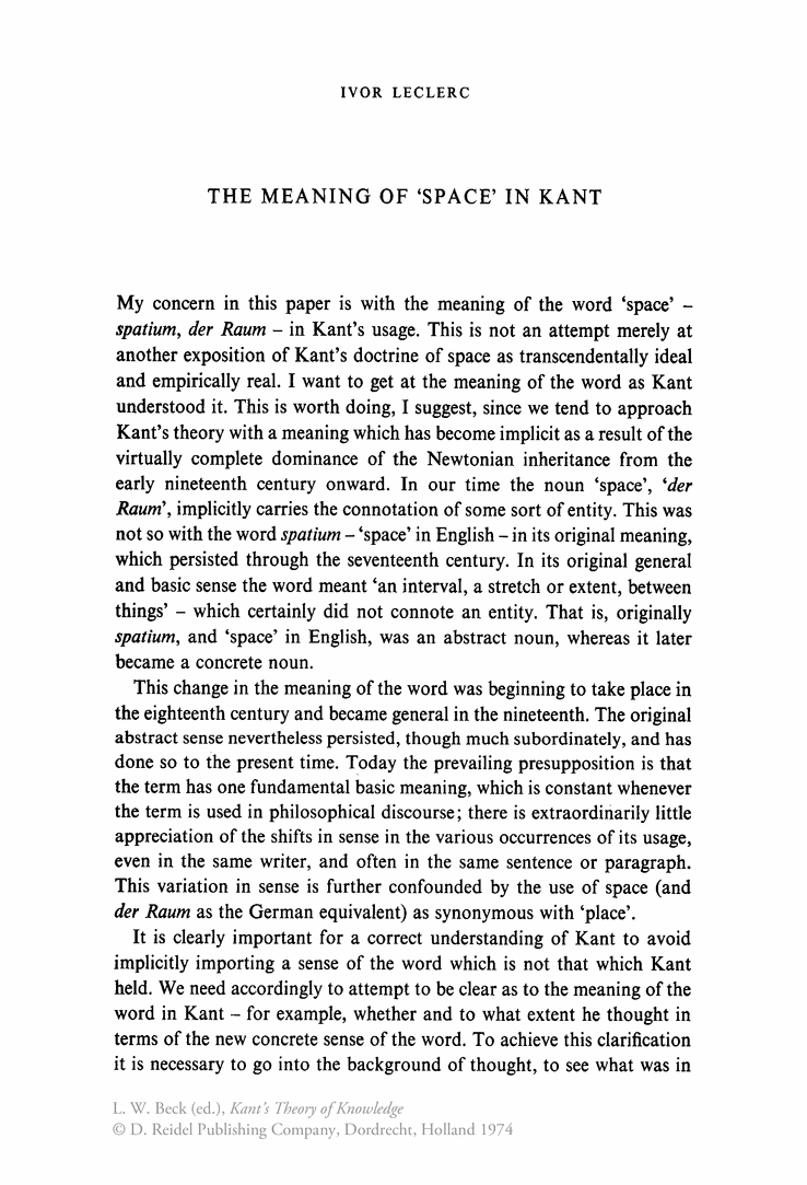 """The meaning of """"Space"""" in Kant"""