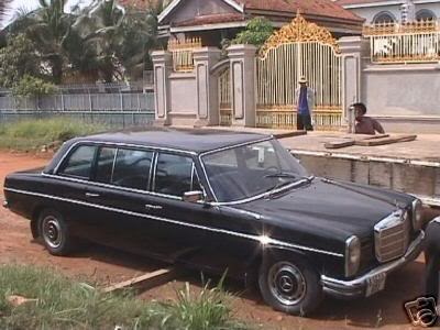 Pol Pot's Mercedes 1973 E 114/115 LWB black stretch limousine before it was refurbished in Phnom Penh Cambodia
