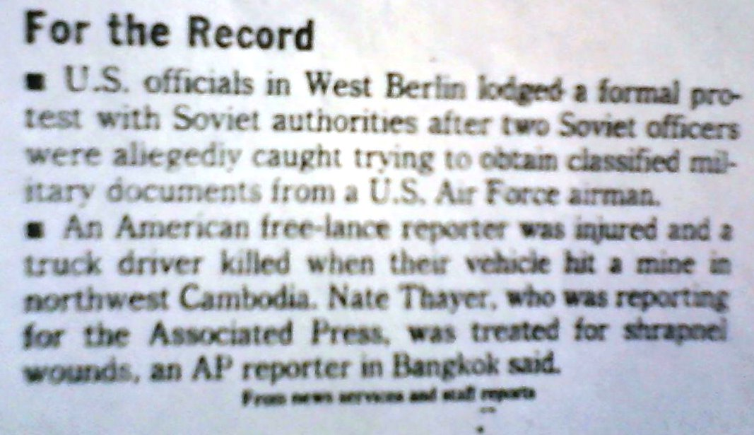 But a journalist being killed on assignment rarely makes significant news. Here it was relegated one sentence in the For the Record briefs section in the Washington Post