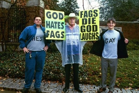 Westboro Baptist Church founder Fred Phelps (c) died this week