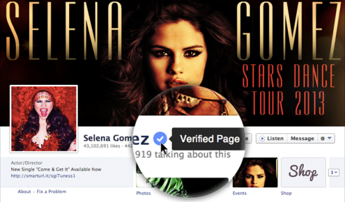 "Facebook page ""verified""  to be that of Selena Gomez,highlighting the coveted blue checkmark"