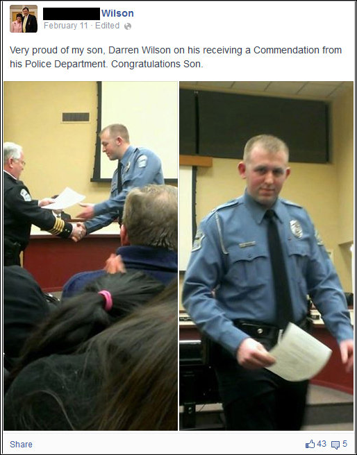 "Officer Wilson's father Facebook page congratulating his son on his award for ""extraordinary service"" by Ferguson Police earlier this year"