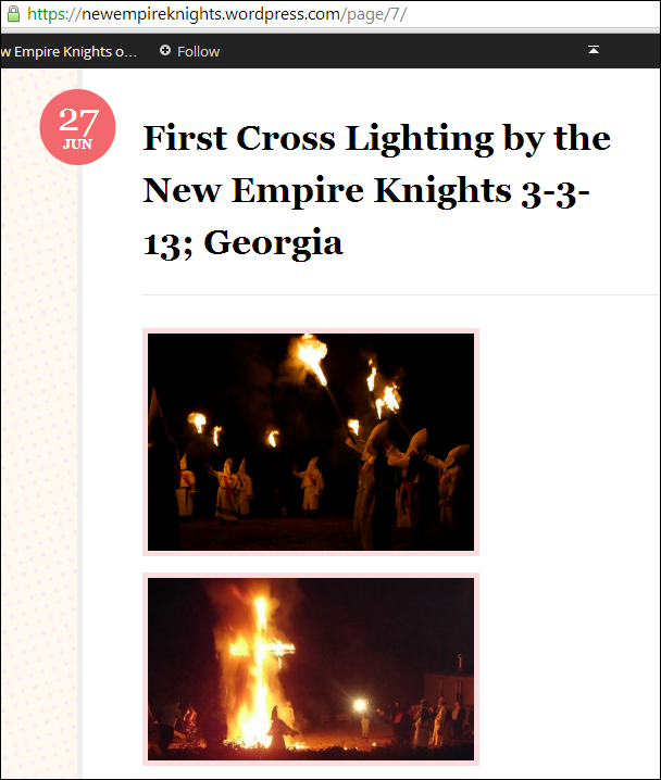 Two Photos KKK claims are of its first cross burning in March 2013 in South Carolina