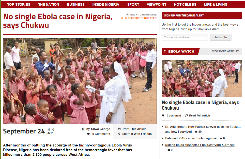 Nigeria claims not a single case of Ebola has gone undetected in the country
