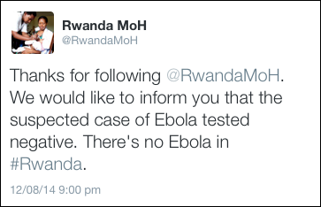 Rwanda says all clear: Ebola doesn't exist