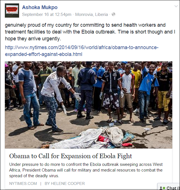 From Ashoka Mukpo's Face book page shortly before he was stricken with Ebola