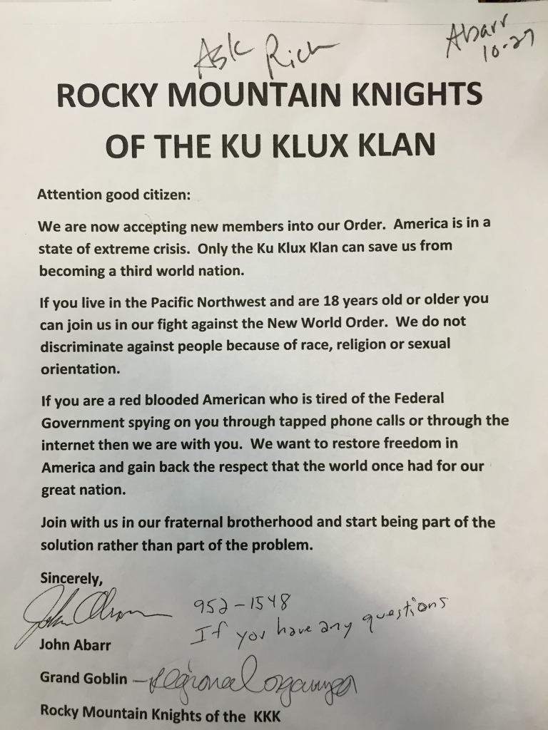 The leaflet sent last week to the Star Tribune newspaper in Montana claiming to be a new kinder gentler KKK welcoming Jews, blacks, gays and others to membership into the KKK