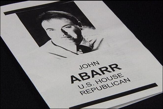 John Abarr's congressional campaign leaflet running as a candidate for the republican party
