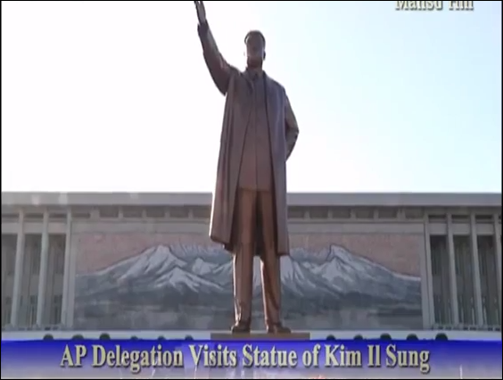 "North Korean TV broadcasting AP top executives paying ""homage"" to dictator Kim Il Sung"