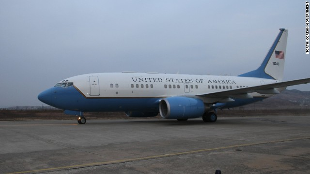 U.S. government plane on the tarmac in Pyongyang, November 9, 2014. Inside were two dozen heavily armed U.S. special operations soldiers