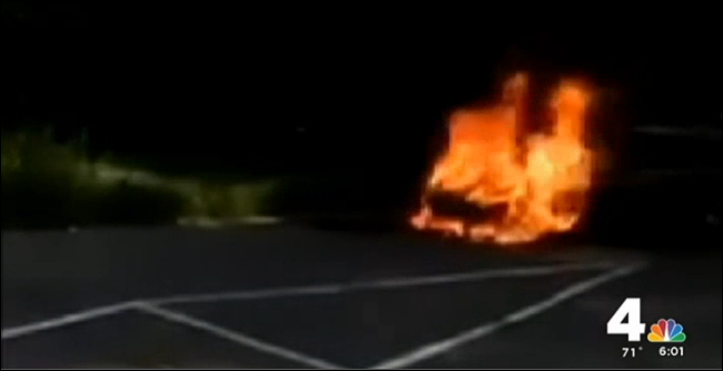 Savopulos Porsche 911 on fire in church parking lot next to former homes of both Jordan Wallace and suspect Deron Wint
