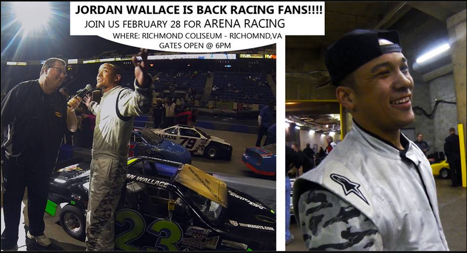 Photo posted by Jordan Wallace car racing manager, Blake Fisher, of J T Wallace Racing,on Fisher's Facebook page February 2015