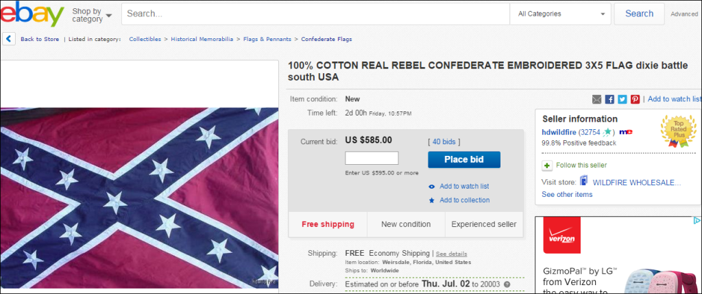 Prices of Confederate flags surge on eBay