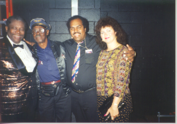 Davis (2cd from right) and B.B. King (L) and Pinetop Perkins (2cd left)