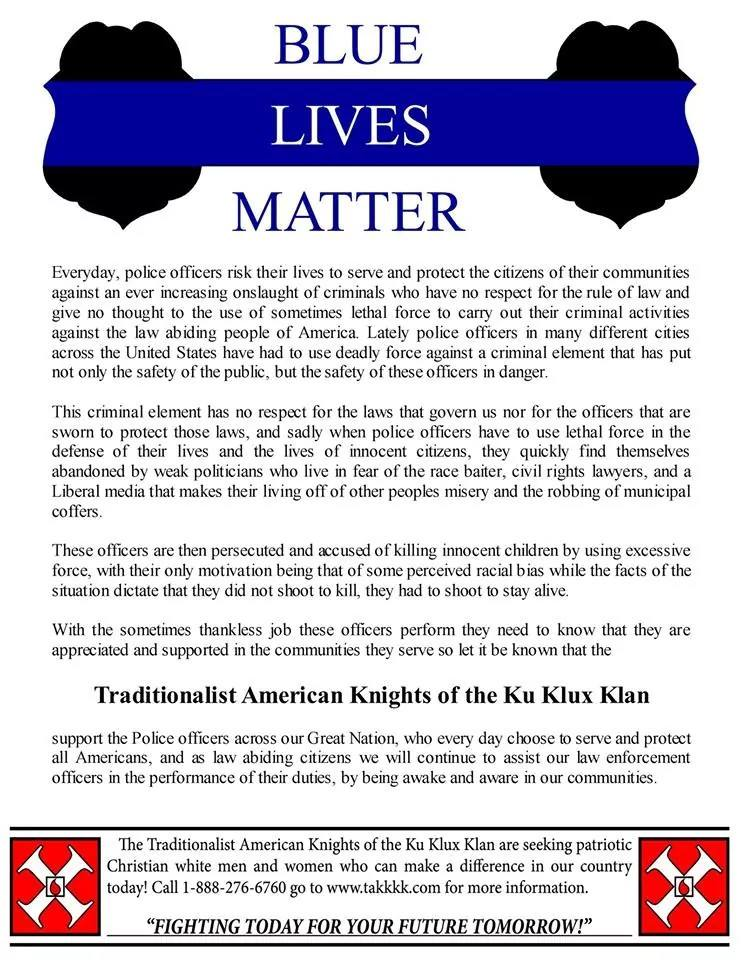 A poster supporting police officers distributed by the KKK in the wake of the Ferguson incident in August 2014