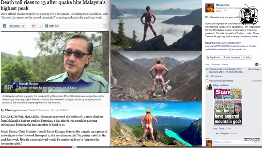 Fake Facebook post that sparked word wide media attention to naked mountain climbers accused of causing Malaysian earthquakes