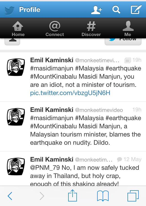 Tweet from Emil Kasinski on naked hikers accused of sparking Malaysian earthquake