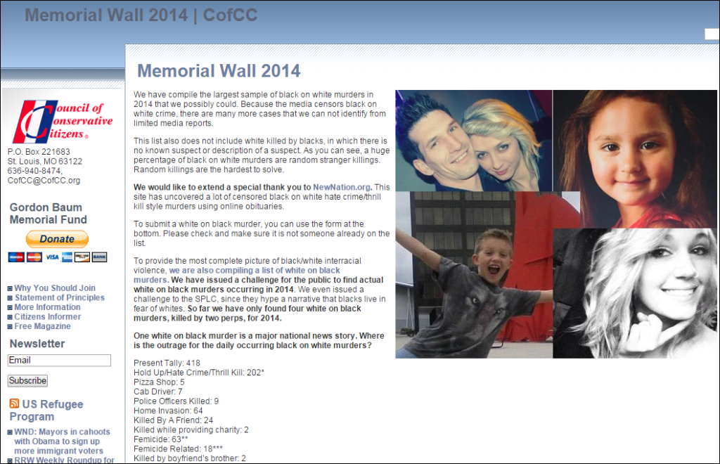 """The """"Memorial Wall"""" of the Citizens Conservative Council detailing what they claim is an epidemic of """"Black on White"""" crime which sparked Dylann Roof on his political path, according to Roof on his website"""
