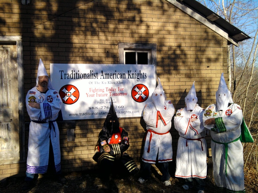 A group shot of the Missouri based Traditionalist American Knights of the KKK