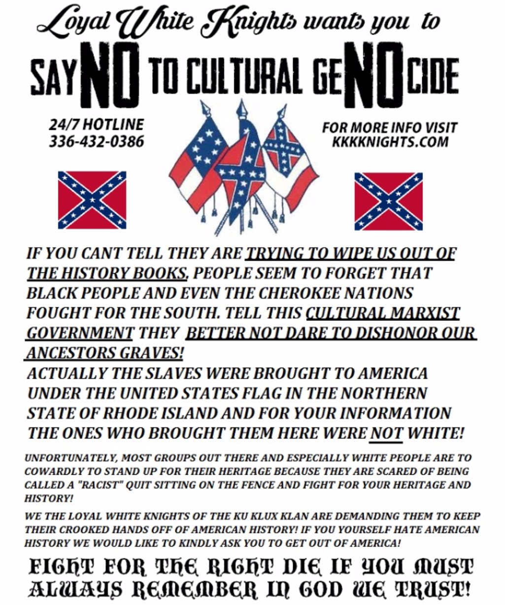the ku klux klan threatened to decapitate my dog how political recruitment leaflet of chris barker s loyal white knights of the ku klux klan