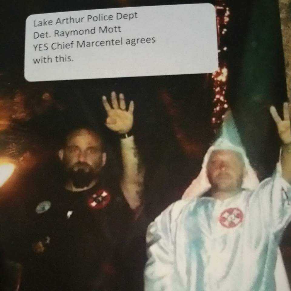 The leaked copy of the photo of Lake Arthur police detective Ray Moss. The note on top left refers to Lake Arthur police chief Raymond Marcentel