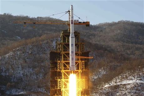 "FILE - In this Dec. 12, 2012, file photo released by the Korean Central News Agency (KCNA), North Korea's Unha 3 rocket lifts off from the Sohae launch pad in Tongchang-ri, North Korea. The Unha 3 rocket that launched the ""Bright Star"" satellite into space in 2012 is a symbol of North Korea's technological successes and a matter of great national pride. The country plans another launch to put Earth observation satellite into orbit in February, 2016. Although the equipment it will use is not yet known, the launch could also advance its military-use missile technology further. (KCNA via AP, File) NORTH KOREA OUT"