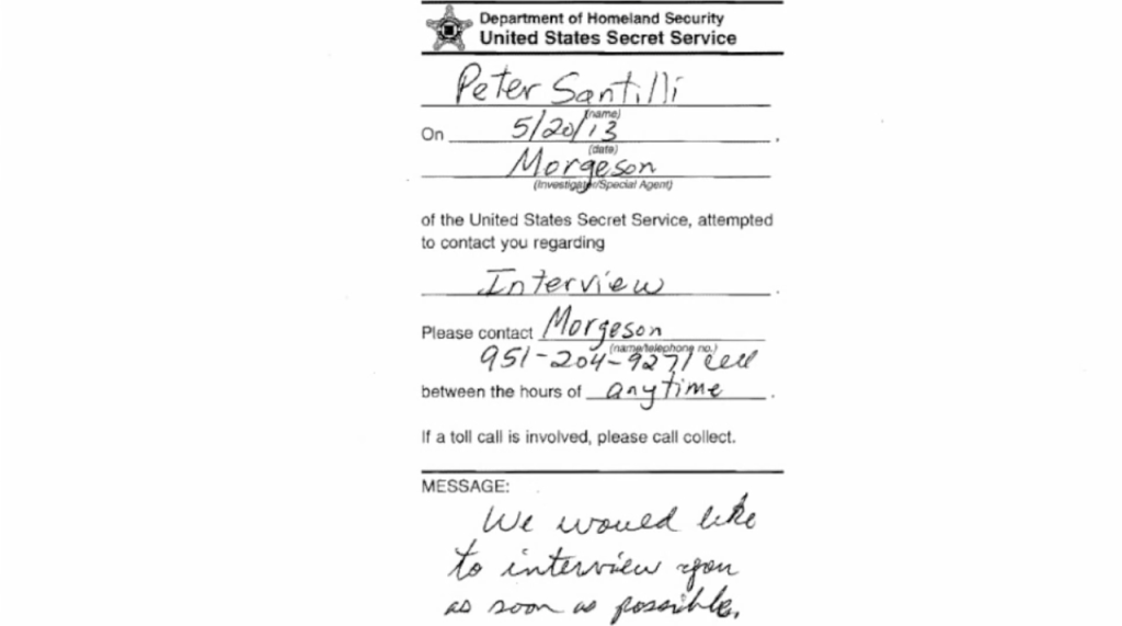 U.S. Secret Service letter left on Pete Santilli's door after he called for shooting Hillary Clinton in the Vajayjay