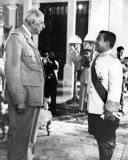 Sihanouk with then French president Charles De Gualle