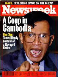 Hun Sen after he overthrew the 3 billion dollar UN election when he lost in 1997