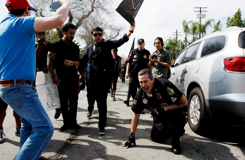 Hagen seen being attacked in Anaheim, California by a local mob. 13 people, including Hagen, were taken into custody. No charges were filed against Hagen. Photo:LA Times Luis Sinco