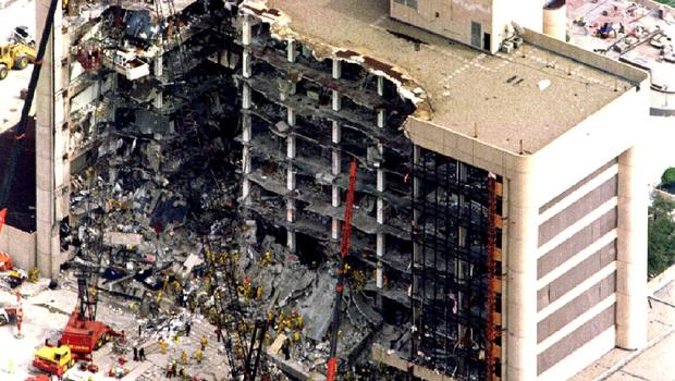 The aftermath of the bombing of the Edward Murrah federal building bombing in Oklahoma City in 1995