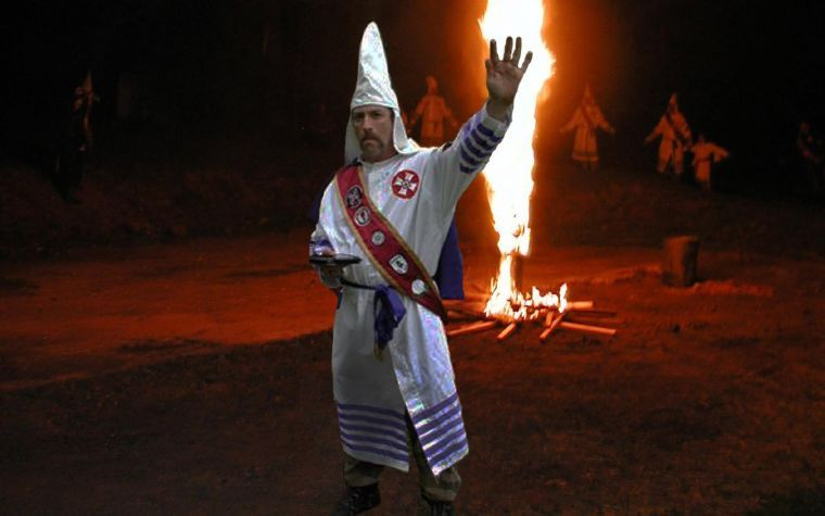KKK Imperial Wizard Frank Ancona at a cross lighting ceremony in Missouri