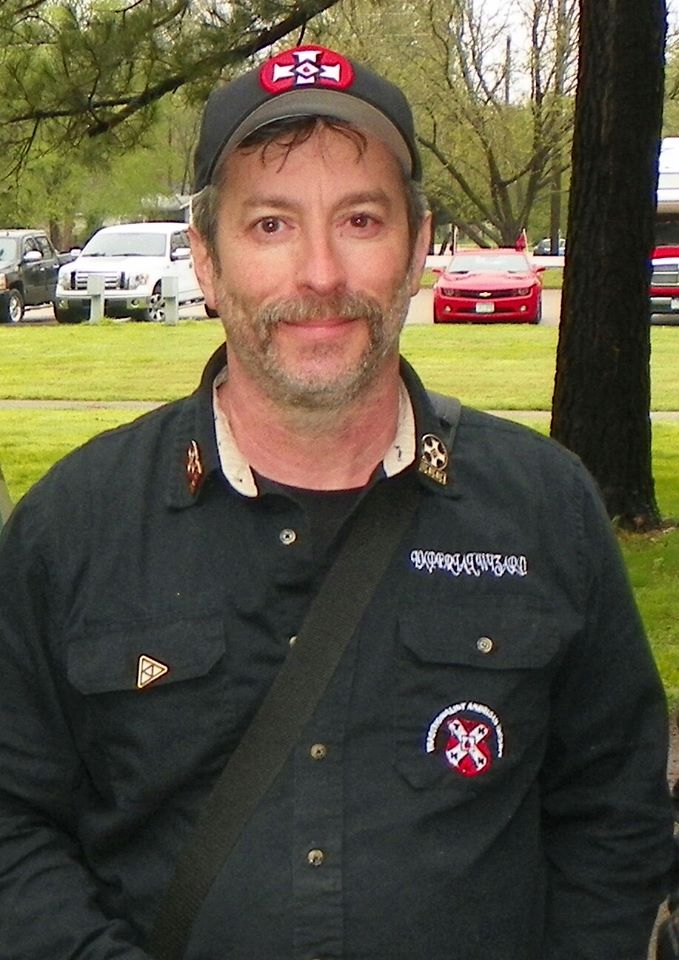 Frank Ancona with his Klan hat and Klan patch on at a Missouri park ground
