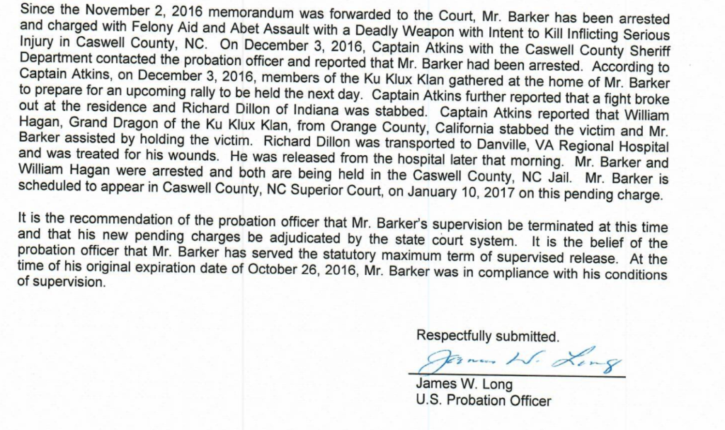 shortly after the middle district of north carolina federal court approved this request on january 10 2017the same day barker first appeared in state
