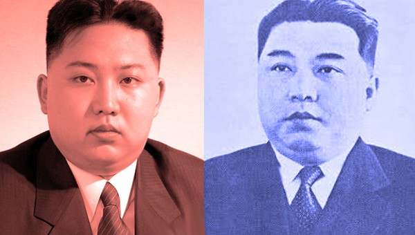 Kim Il Sung and his grandson, current leader Kim Jong-un. Carefully orchestrated propaganda strategies to evoke similarities are alleged to include plastic surgery, which Pyongyang vehemently denies