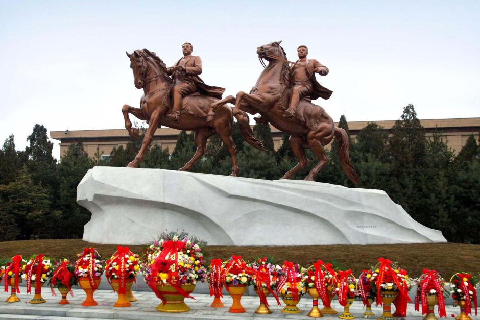 Statues of Kim Il Sung and his son Kim Jong Il in Pyongyang