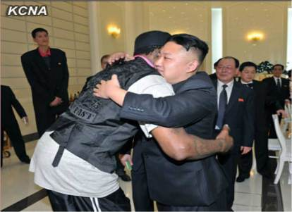Kim Jong-un Hugs Dennis Rodman. In the background, left, is Michael (after Jordan) Ri, once the World's Tallest Man and NBA Prospect who was caught in the Crossfire of Nuclear Negotiations