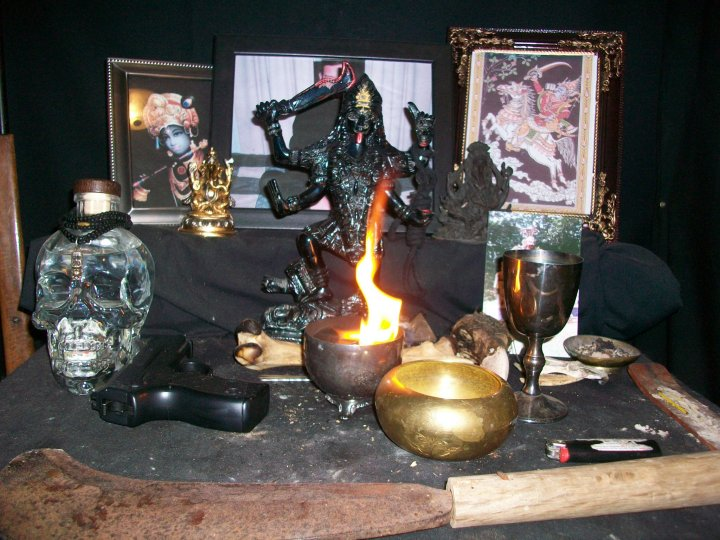 "Hidu sect shrine with offerings to the ""Goddess of Destruction"" in South Carolina"