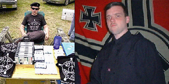 Joshua Caleb Stutter, former leader of the Rural People's Party, selling racist knick knacks (L) and posing in front of a Nazi flag (R)