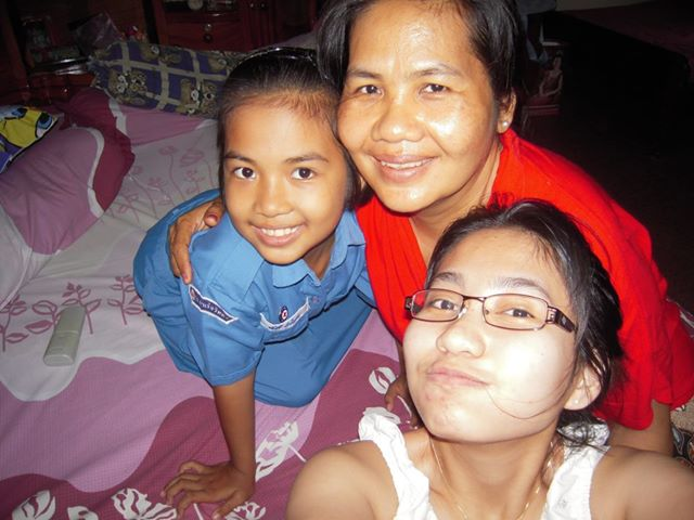 Pol Pot's daughter Sar Patchata (r) with her mother, Pol Pot's widow (c) and step sister in a photo posted on Patchata's Facebook page last year: Photo: All Rights Reserved