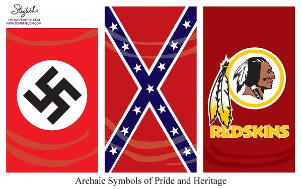 Cartoonist Tom Stiglich goes all in on the Washington Redskins logo, putting it on par with a Nazi and Confederate flag.