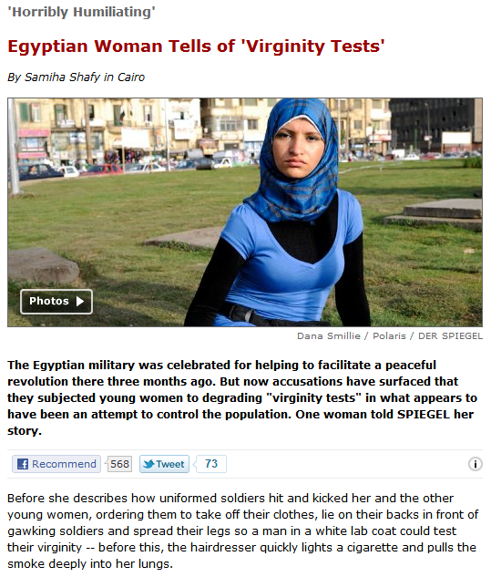 "Egyptian military conducts forced""virginity tests"" on protesters. ""They all failed.They are not like you and me,"" said dictator el Sisi"