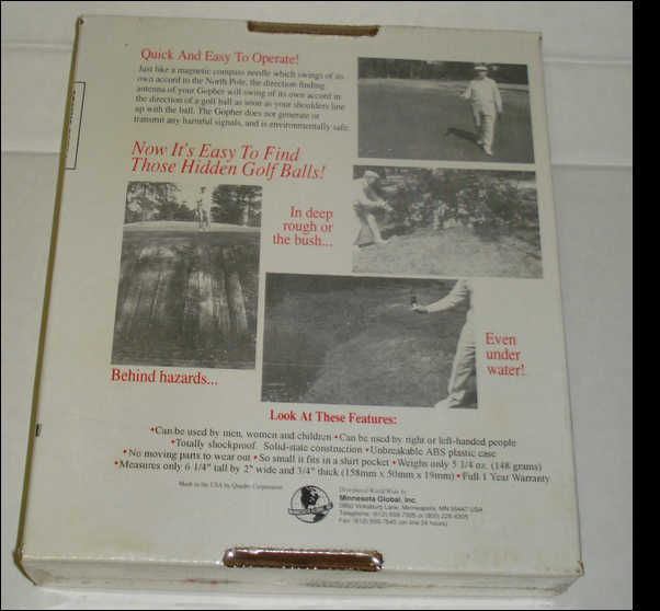 Early golf ball detector advert