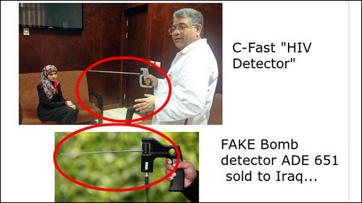 Egyptian military explosives experts claim to have cured AIDS and Hepatitis C using the same bogus technology they use as 'bomb detectors',which have been proven to be entirely useless scams based on fake science