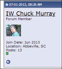 Avatar of the purported head of the KKK group in Abbeville, South Carolina posted on Stormfront, a White Supremacist online chat forum